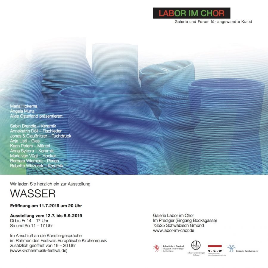 """Fischleder Designs als Teil der Ausstellung """"Wasser"""" in der Galerie für Angewandte Kunst """"Labor im Chor"""" in Schwäbisch Gmünd"""