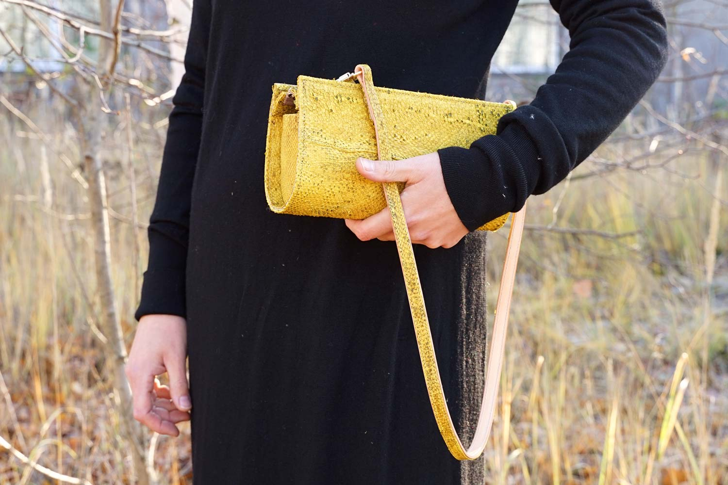 Evening bag made from saffron yellow cod leather