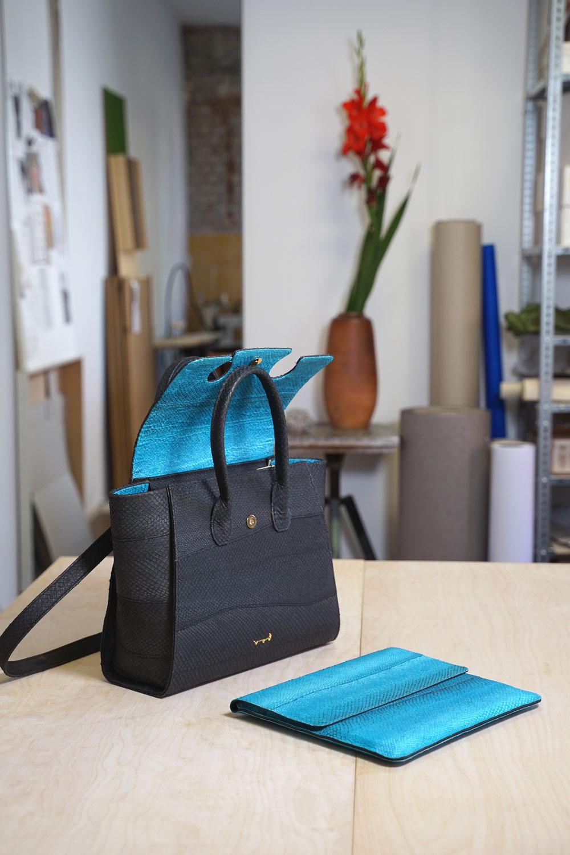Tasche und Laptop-Tasche aus Fischleder