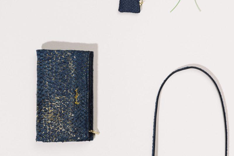 Tasche und Portemonnaie aus isländischem Barschleder