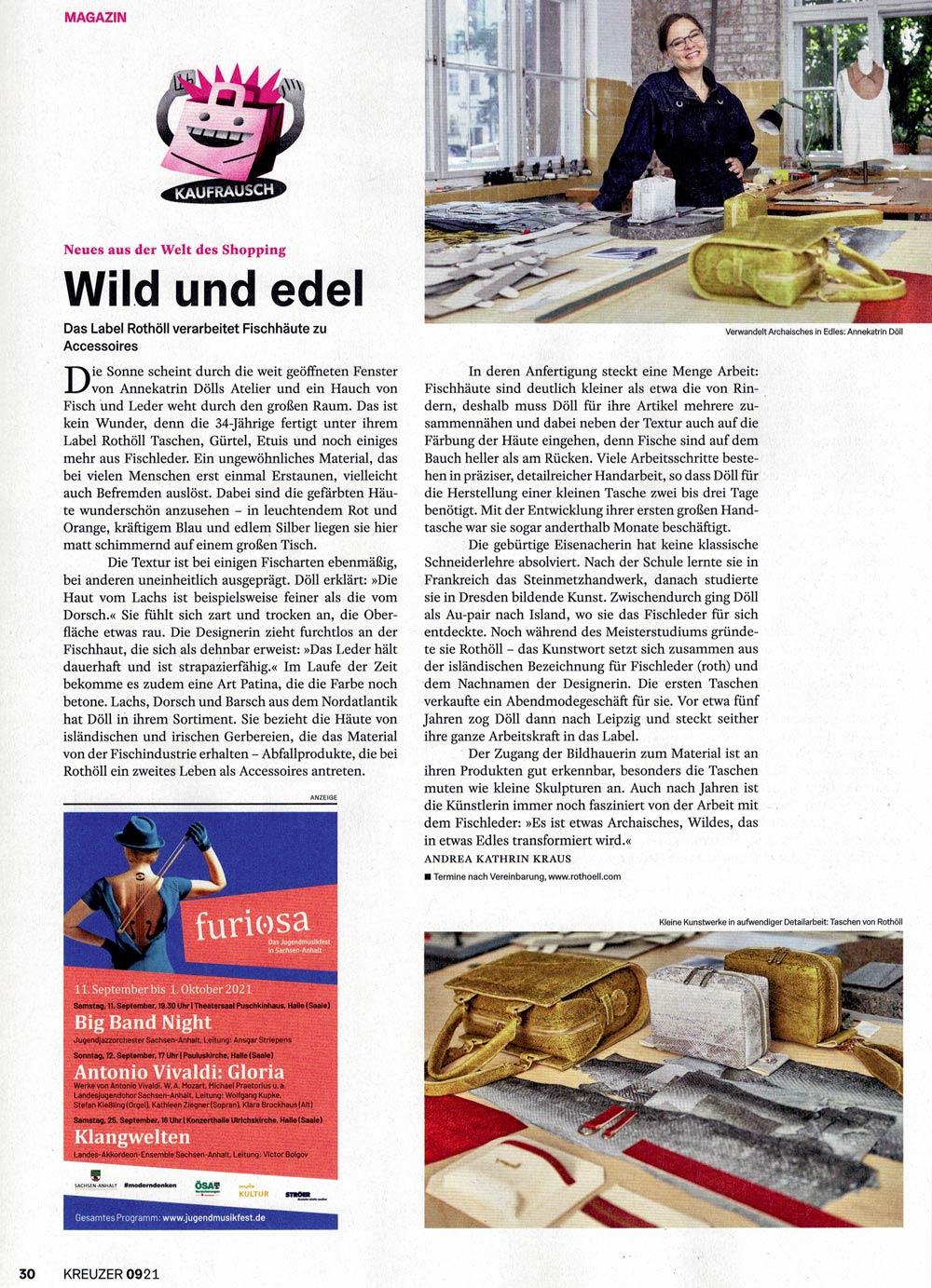 """""""Wild und Edel"""" – der Kreuzer Leipzig stellt Rothöll im September Heft vor"""